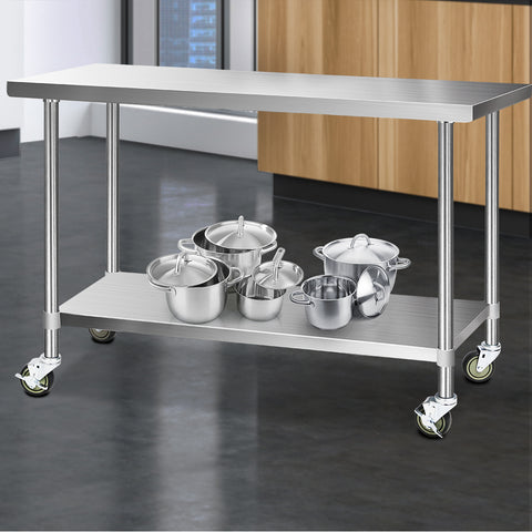 Cefito 304 Stainless Steel Kitchen Benches Work Bench Food Prep Table with Wheels 1524MM x 610MM