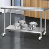 Image of Cefito 304 Stainless Steel Kitchen Benches Work Bench Food Prep Table with Wheels 1524MM x 610MM