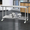 Image of Cefito 304 Stainless Steel Kitchen Benches Work Bench Food Prep Table with Wheels 1829MM x 610MM