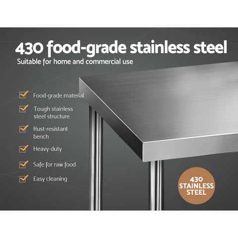 Cefito 1219 x 762mm Commercial Stainless Steel Kitchen Bench