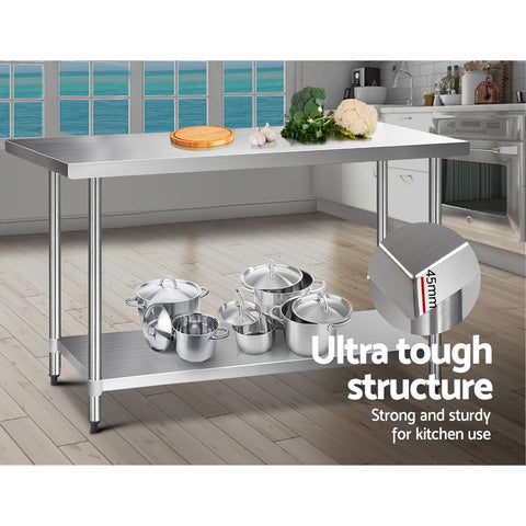 Cefito 1524 x 762mm Commercial Stainless Steel Kitchen Bench