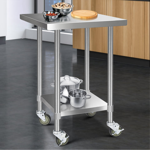 Cefito 762 x 762mm Commercial Stainless Steel Kitchen Bench with 4pcs Castor Wheels