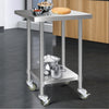 Image of Cefito 762 x 762mm Commercial Stainless Steel Kitchen Bench with 4pcs Castor Wheels