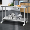 Image of Cefito 1524 x 762mm Commercial Stainless Steel Kitchen Bench with 4pcs Castor Wheels