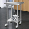 Image of Cefito 430 Stainless Steel Kitchen Benches Work Bench Food Prep Table with Wheels 610MM x 610MM