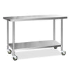 Image of Cefito 430 Stainless Steel Kitchen Benches Work Bench Food Prep Table with Wheels 1524MM x 610MM