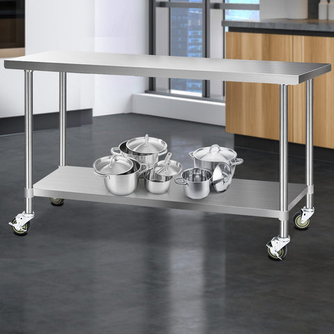 Cefito 430 Stainless Steel Kitchen Benches Work Bench Food Prep Table with Wheels 1829MM x 610MM