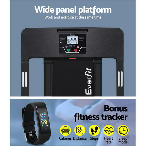 Everfit Electric Treadmill Home Gym Exercise Running Machine Fitness Equipment Compact Fully Foldable 420mm Belt Black