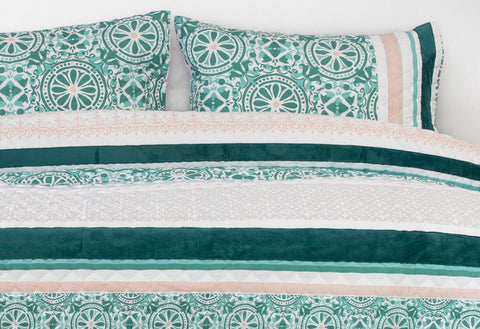 Double Size 3pcs Spindle Velvet Panel Embossed Quilt Cover Set
