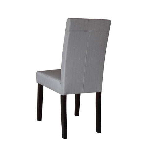 2 x Premium Fabric Linen Palermo Dining Chairs High Back - Light Slate Grey