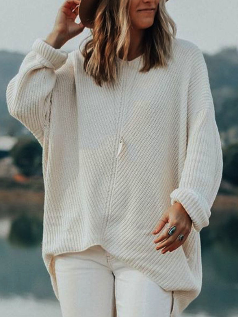 White V Neck Plain Knitted Sweater