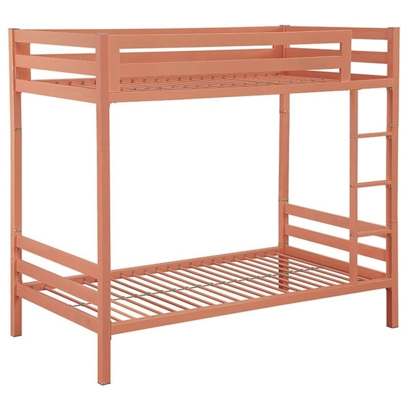 Walker Edison Twin over Twin Bunk Bed in Coral - Bunk Bed Central