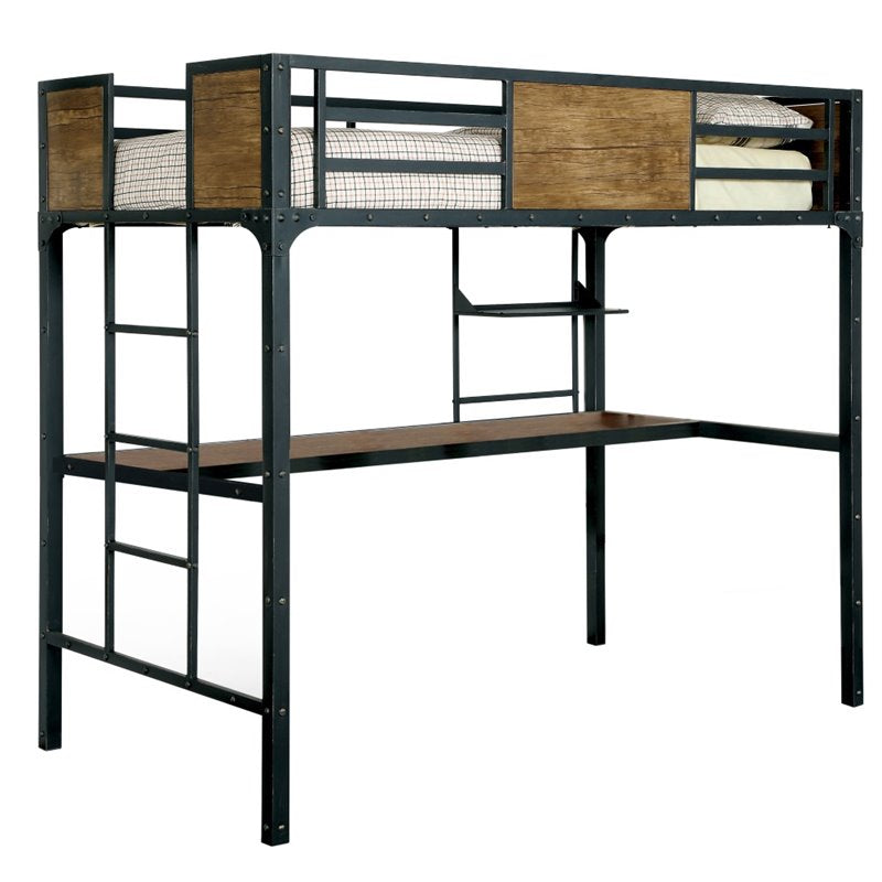 Furniture of America Baron Twin Loft Bed in Black - Bunk Bed Central