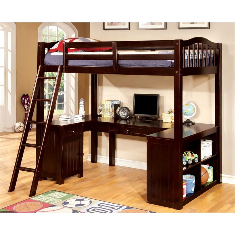 Furniture of America Franklyn Twin Loft Bed with Desk in Espresso - Bunk Bed Central