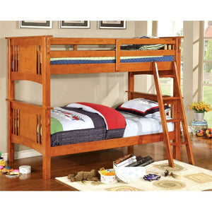 Furniture of America Roderick Twin over Twin Bunk Bed in Oak - Bunk Bed Central