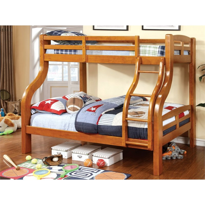 Furniture of America Lancealot Twin over Full Bunk Bed in Oak - Bunk Bed Central