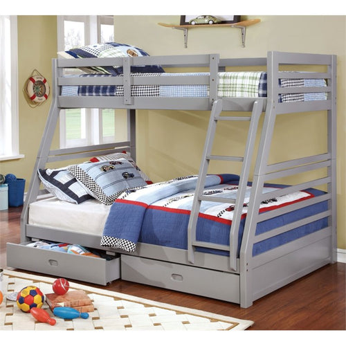 Furniture of America Thaddeus Twin Over Full Bunk Bed in Gray - Bunk Bed Central