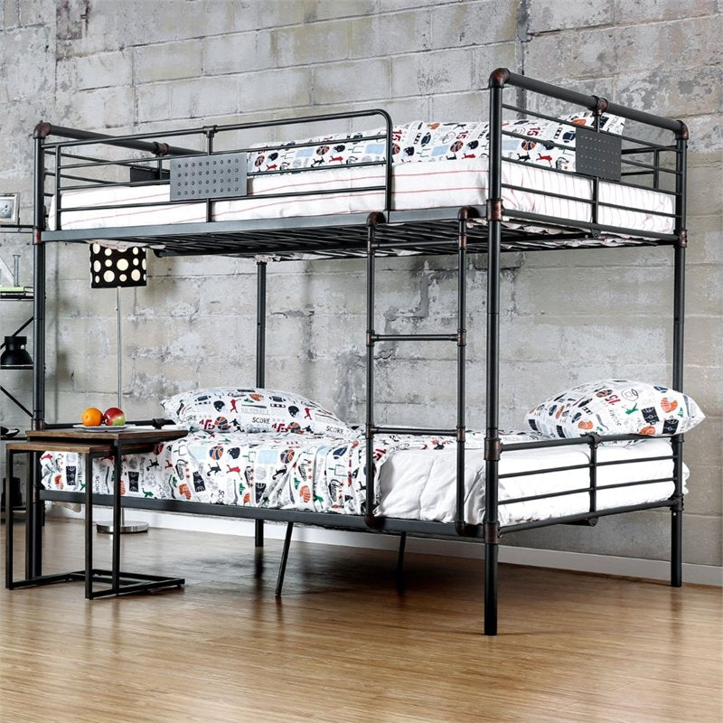 Furniture of America Bryon Full Over Full Bunk Bed in Antique Black - Bunk Bed Central