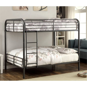 Furniture of America Capelli Full over Full Bunk Bed in Gun Metal - Bunk Bed Central
