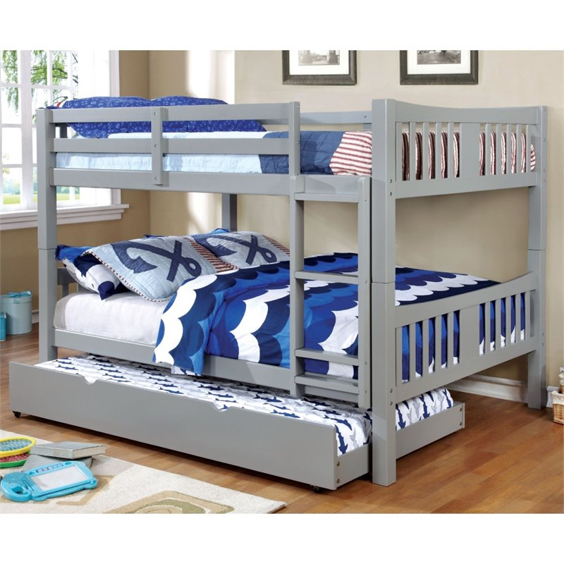 Furniture of America Edith Full over Full Bunk Bed in Gray - Bunk Bed Central