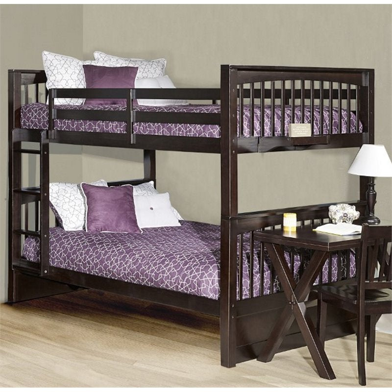 NE Kids Pulse Full Over Full Slat Bunk Bed in Chocolate - Bunk Bed Central