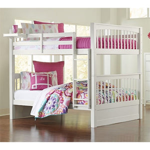 NE Kids Pulse Full Over Full Slat Bunk Bed in White - Bunk Bed Central