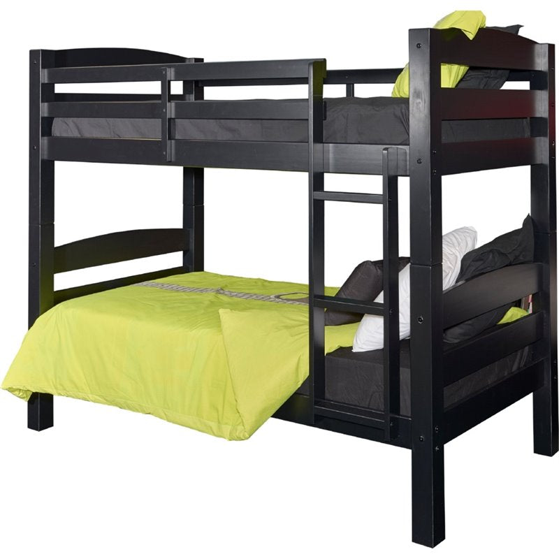Powell Levi Twin over Twin Bunk Bed in Black - Bunk Bed Central