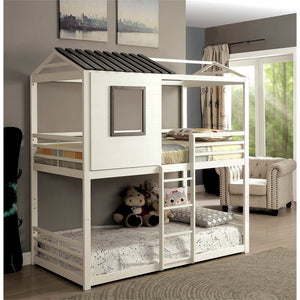 Furniture of America Nesta House Twin over Twin Bunk Bed in White - Bunk Bed Central