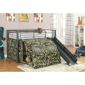 Coaster Oates Twin Size Kids Metal Loft Bed With Slide in Camouflage - Bunk Bed Central