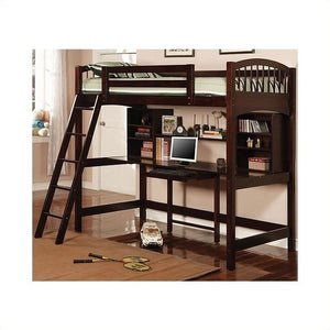 Coaster Twin Wood Loft Bunk Bed with Workstation in Cappuccino Finish - Bunk Bed Central