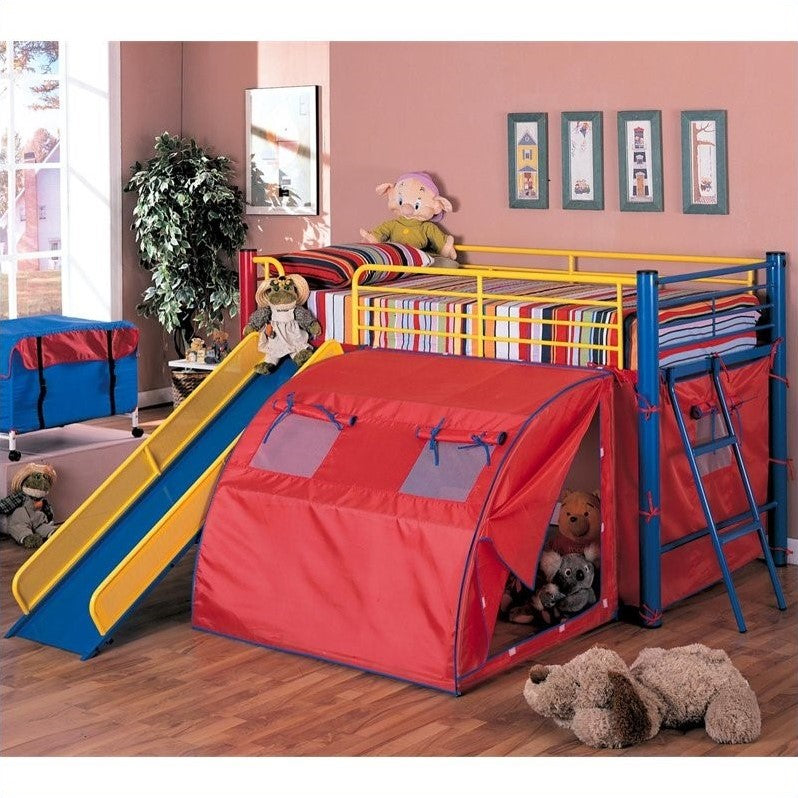Coaster Kids Metal Twin Loft Bunk Bed with Slide and Tent - Bunk Bed Central