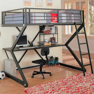 Coaster Bunks Workstation Full Loft Bed in Black Matted Finish - Bunk Bed Central