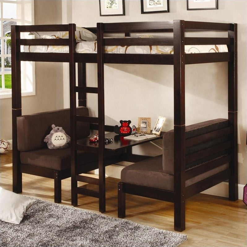 Coaster Twin over Twin Convertible Loft Bunk Bed in Dark Wood Finish - Bunk Bed Central