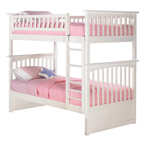 Atlantic Furniture Columbia Twin Over Twin Bunk Bed in White - Bunk Bed Central