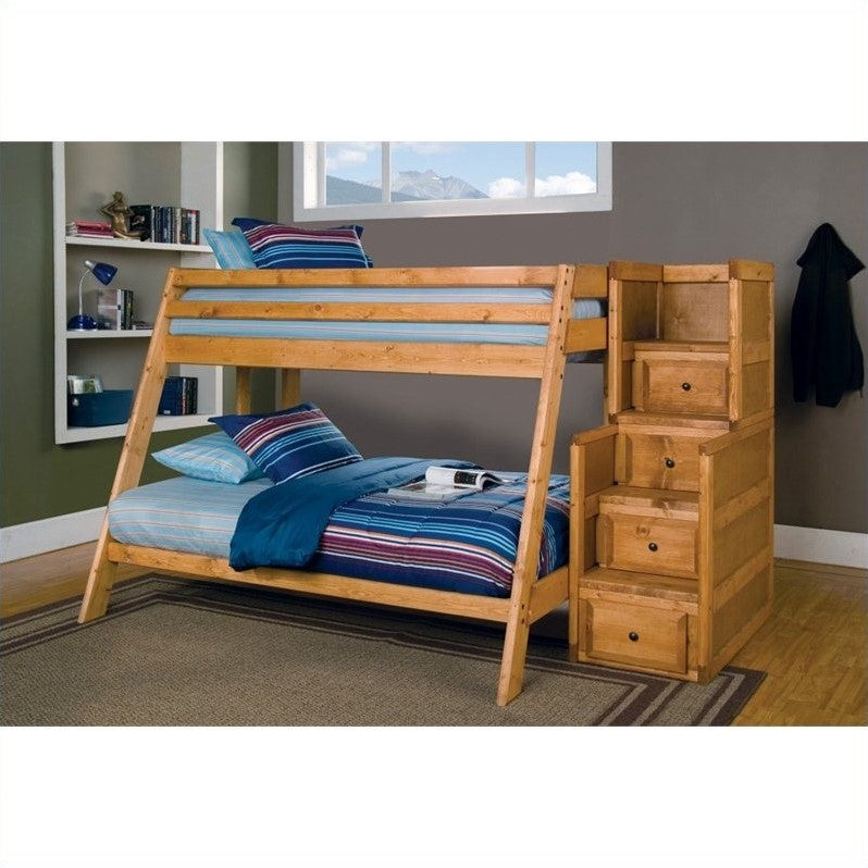 Coaster Wrangle Hill Twin over Full Bunk Bed with Stairs in Amber Wash - Bunk Bed Central