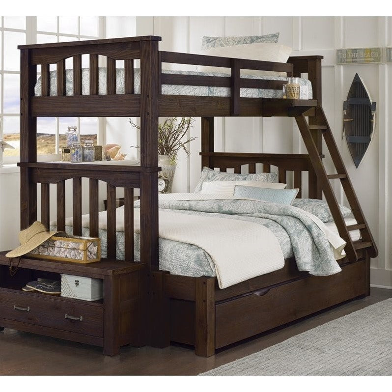 NE Kids Highlands Harper Twin over Full Bunk with Trundle in Espresso - Bunk Bed Central