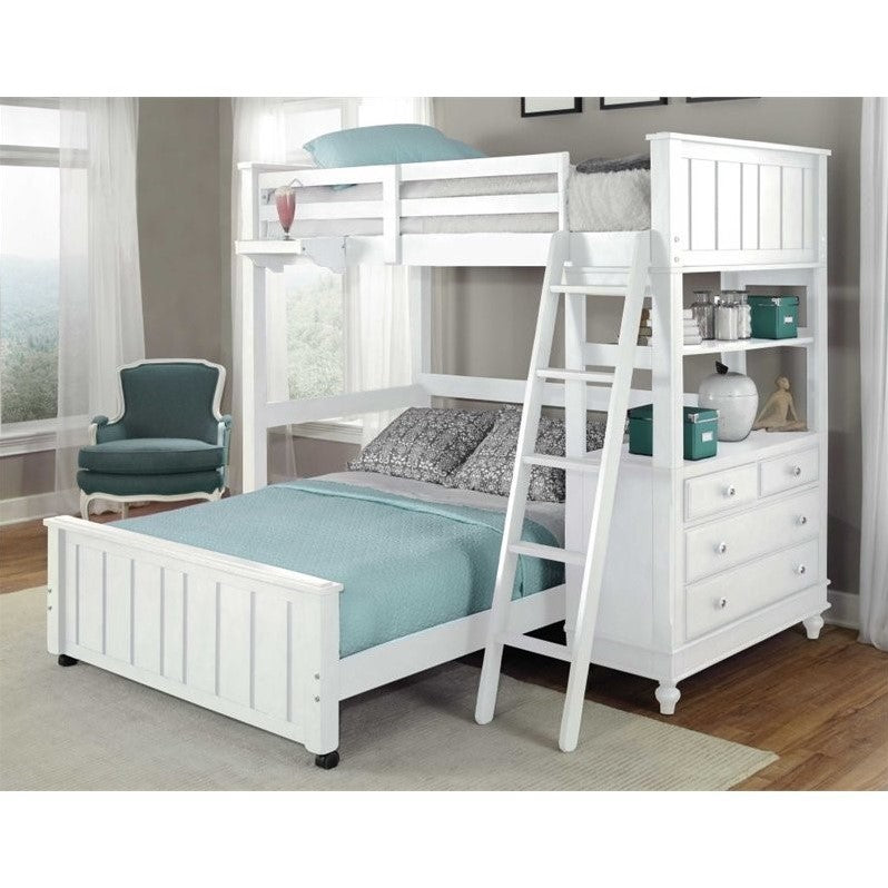 NE Kids Lake House Twin Loft Bed with Full Lower Bed in White - Bunk Bed Central