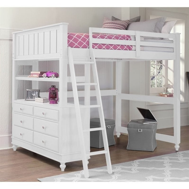 NE Kids Lake House Full Loft Bed in White - Bunk Bed Central