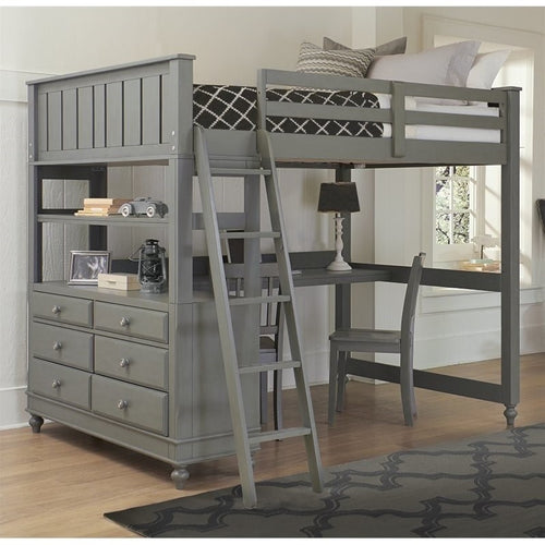 NE Kids Lake House Full Loft Bed with Desk in Stone - Bunk Bed Central