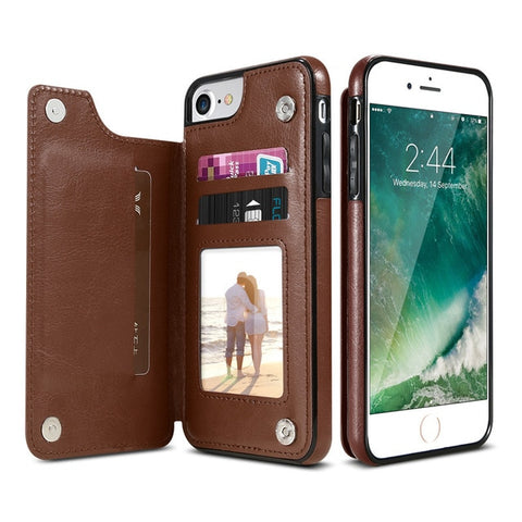 Protective Leather Case + Card Holder For iPhone