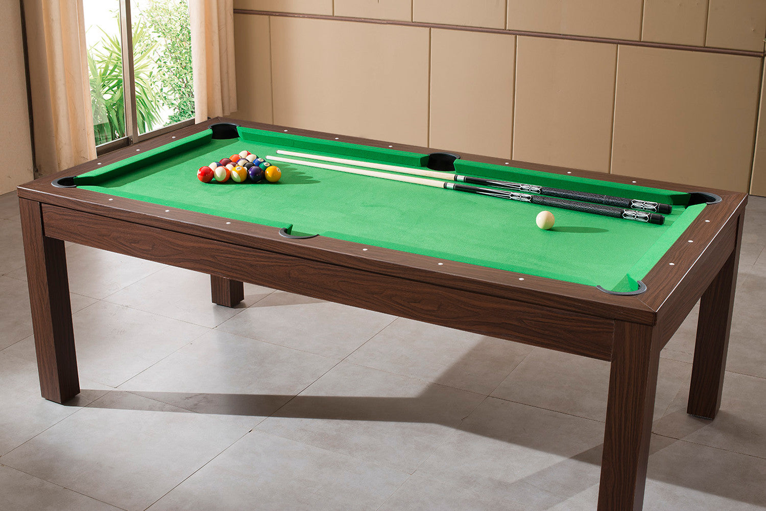 Billard convertible en table manger noyer billards - Table de billard convertible table a manger ...
