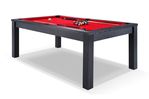 Billard noir transformable en table avec tapis rouge