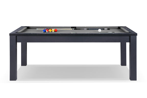 Billard noir transformable en table avec tapis gris