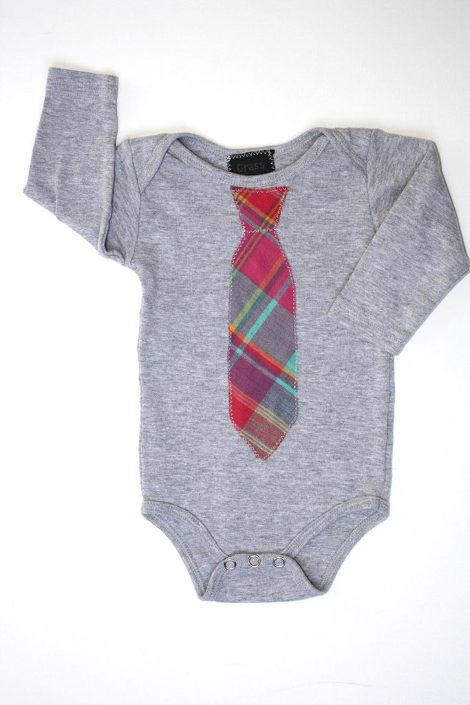 Long Sleeve Onesie with Plaid Tie