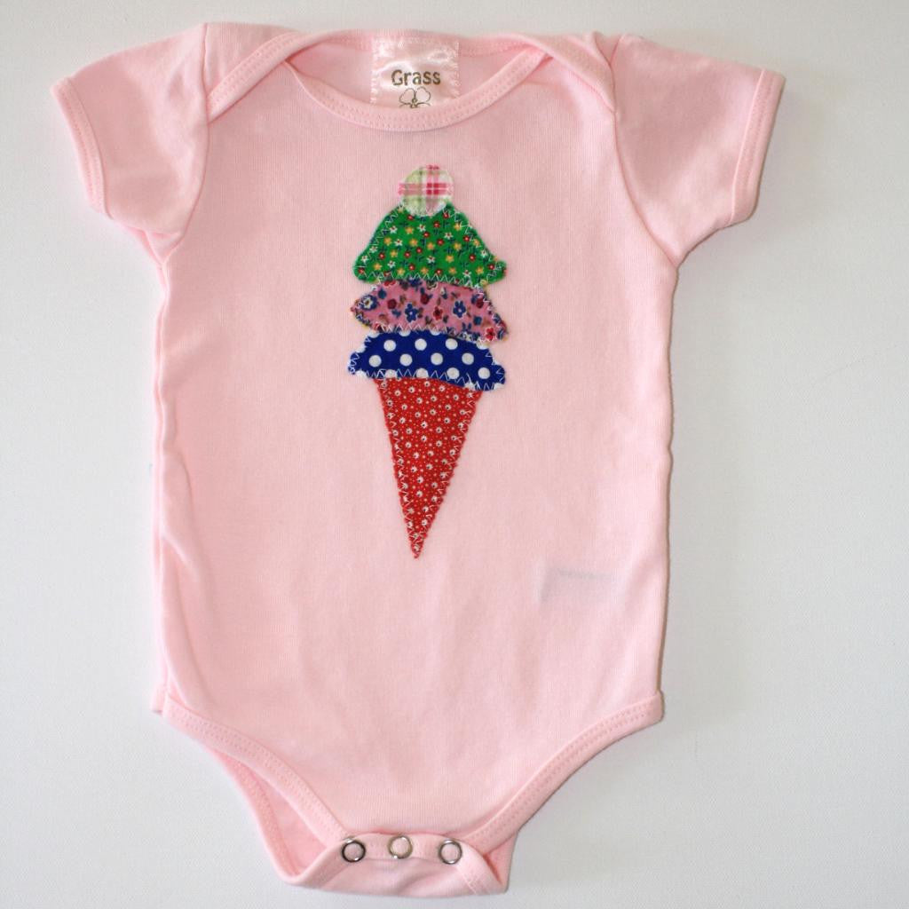 Short Sleeve Ice Cream Cone Onesie