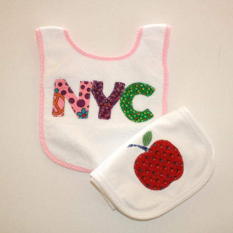 Big Apple Bib/Burp Cloth Set