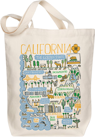 California Boutique Map Art Tote - Golden
