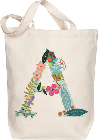 "Floral Monogram ""A"" Tote"