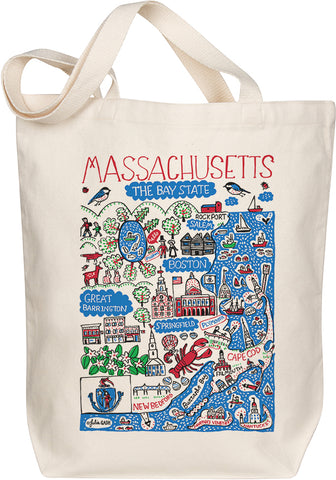 Massachusetts Boutique Map Art Tote