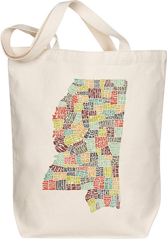 Mississippi Typography Tote - Multicolor
